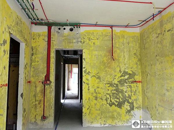 廊桥水乡实景工地水电工艺,KD工程,重庆别墅装修,KD室内设计事务所